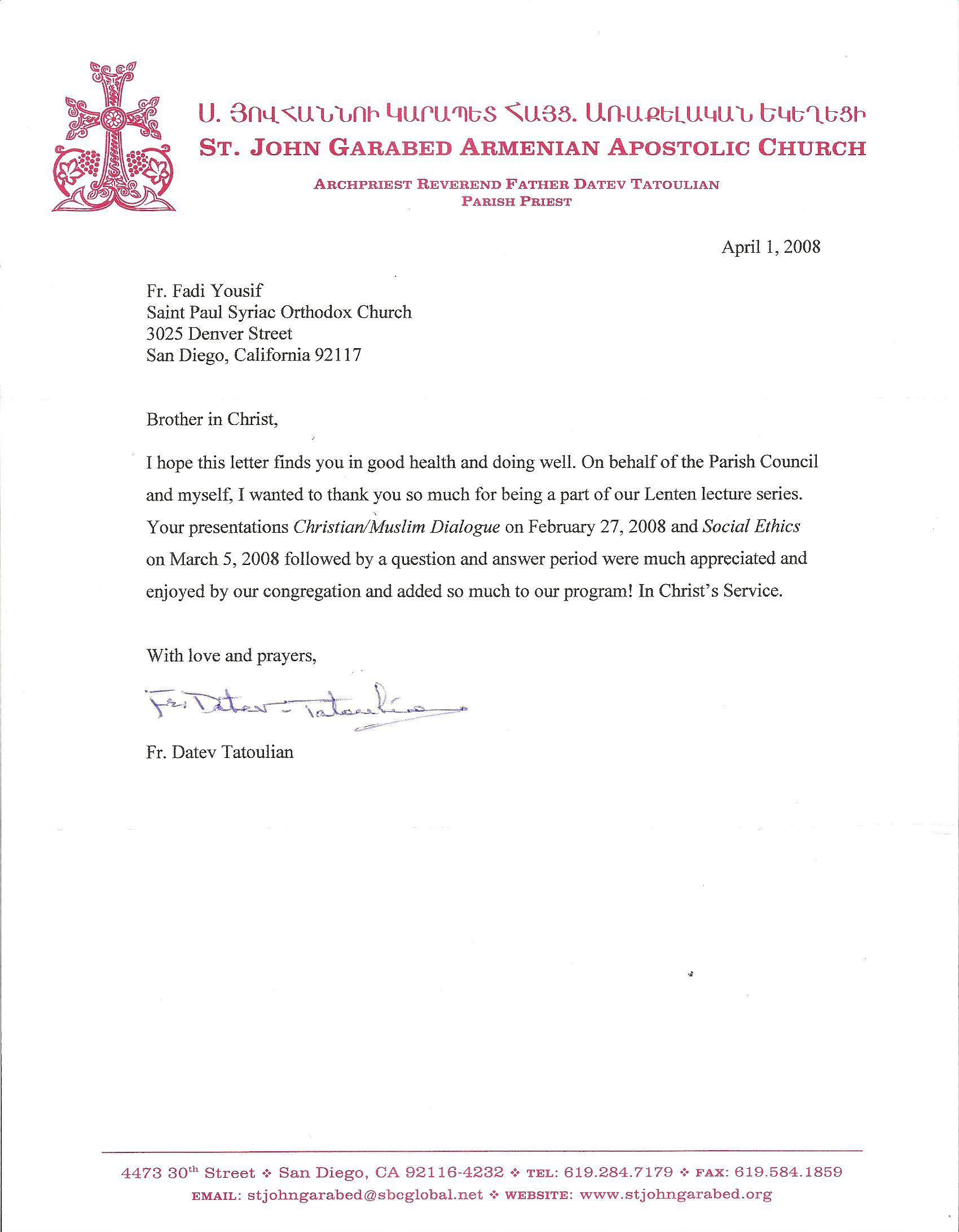 Saint thomas the apostle church of antioch a thank you letter from saint thomas the apostle church of antioch a thank you letter from the armenian church in san diego to father fadi yousif altavistaventures Gallery